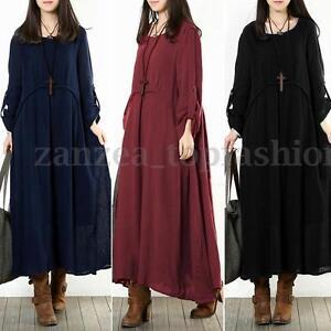 6d34dc983d Image is loading ZANZEA-Fashion-Women-Long-Sleeve-Baggy-Shirt-Dress-