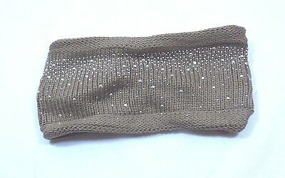 Tan Ear Warmer Brown Acrylic Hand Knit Winter Headband