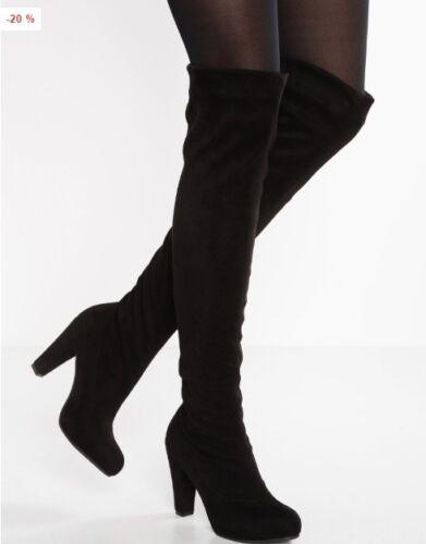 tacco Zalando Nubuck con coscia 38 Suede Euro nuovi nero stivali alto 5 taglia dqXwRqx