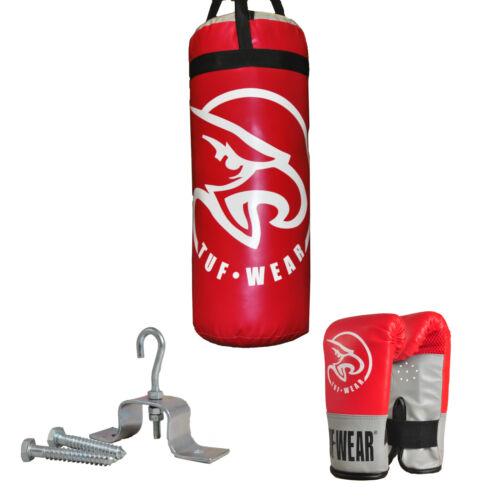Tuf Wear Boxing Punch Bag Junior 2ft Punchbag Kit with Gloves