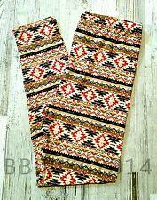 Leggings Soft Pink Beige Tribal Aztec Print PS Womens Pant Plus Size NEW