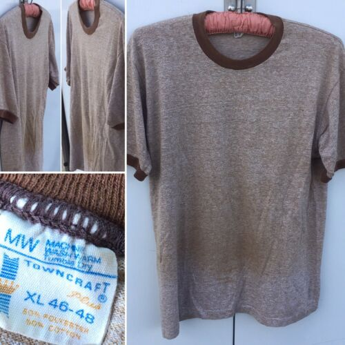 Vintage Ringer Tee T-Shirt Heather Brown Towncraft