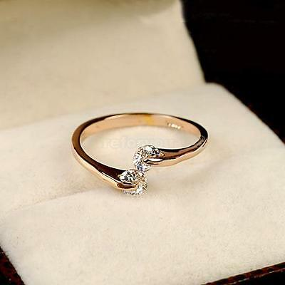 Fashion Women 18k Rose Gold Plated Crystal Bridal Engagement Ring Size 6/7/8/9