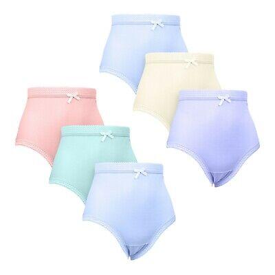 Ladies Women Cotton Rich Lace Trim Briefs Underwear UK