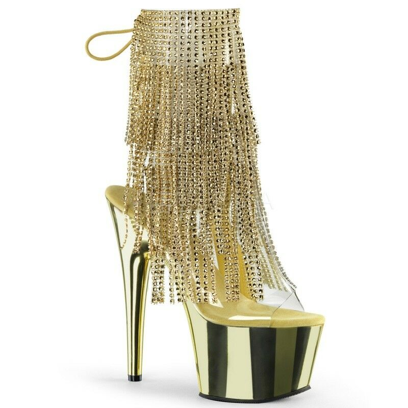 PLEASER ADORE-1017RSF Extrem Plateau Stiefelette Gold Strass Fransen Gogo Sexy .