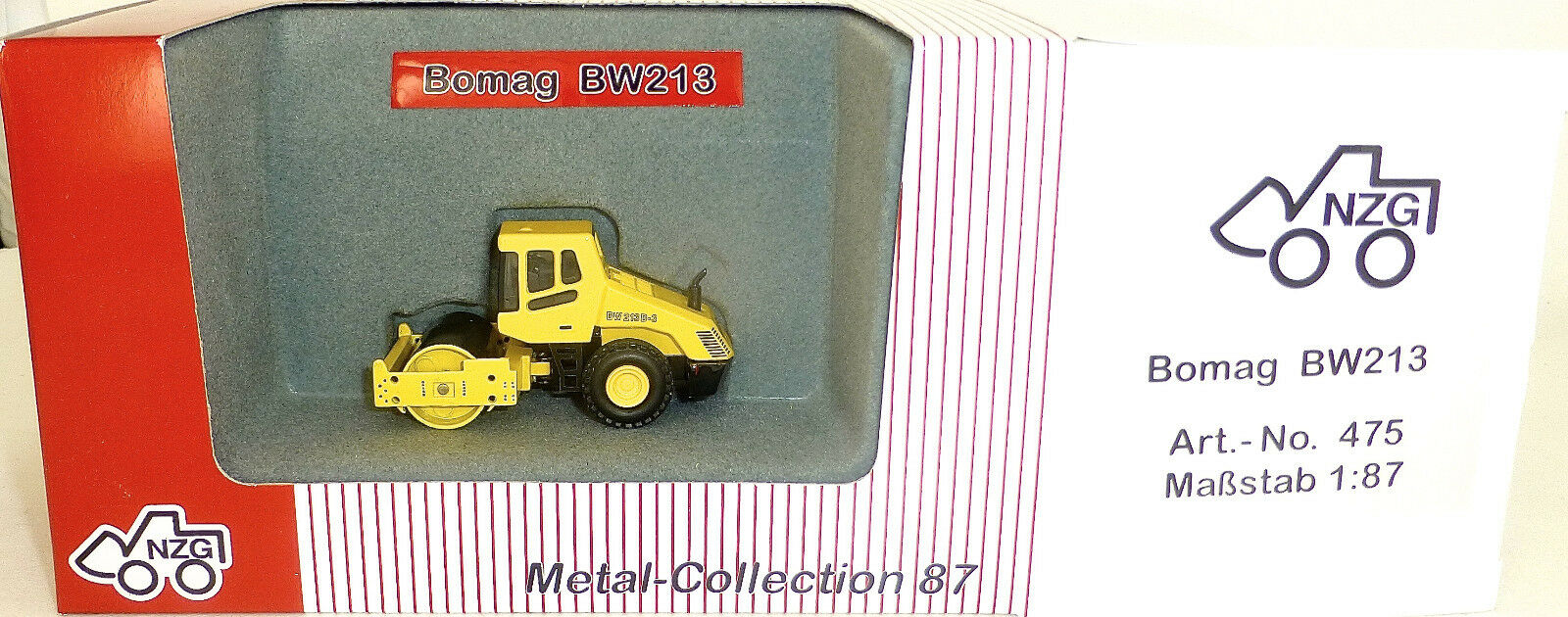 Bomag Bw213 D-3 D-3 D-3 Road Roller Yellow Nzg 475 Metal Collection H0 1 87 Ovp Hi6 Μ a671d6