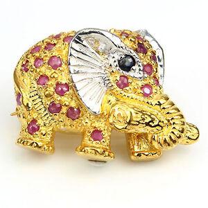 LDN-Broche-Elephant-avec-Rubis-et-Saphirs-Argent-925-plaque-or-14ct