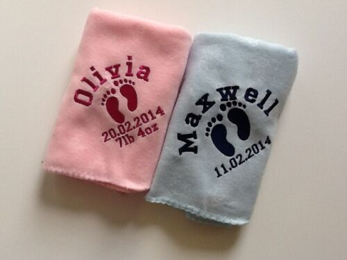 Personalised Deluxe Twin Baby Blankets Great Gift Footprint Design