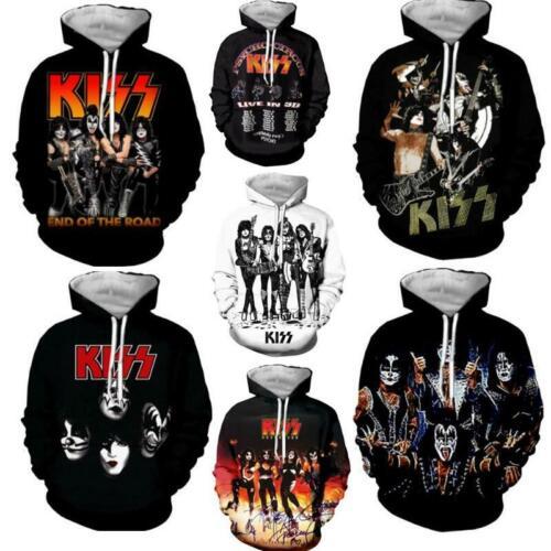 MensWomens 3D Print Rock KISS Band Casual Hoodie Sweatshirt Jacket Pullover Tops