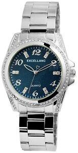 Excellanc-Damenuhr-Blau-Silber-Strass-Analog-Metall-Armbanduhr-Quarz-X1800152005