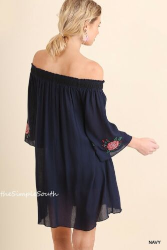 NWT UMGEE Navy Floral Embroidered Bell Sleeve Off-The-Shoulder Tunic Dress L