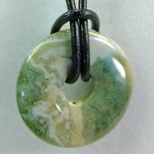 Brand New Adjustable Cord Handcrafted Polished Translucent Gemstone Donut Pendant Necklace