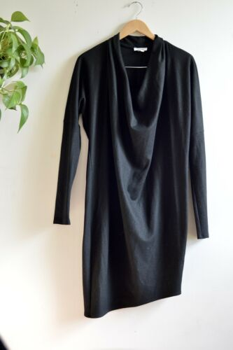 Helmut Lang Sonar Black Wool Dolman Sleeve Dress