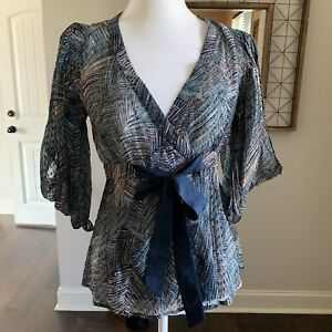 Bcbg-max-azria-Wrap-top-Blouse-small-Navy-Blue-Tie-On-Waist-5-Cold-Shoulder