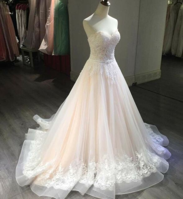 Blush Pink Appliques Wedding Dresses Bridal Gowns Real Picture