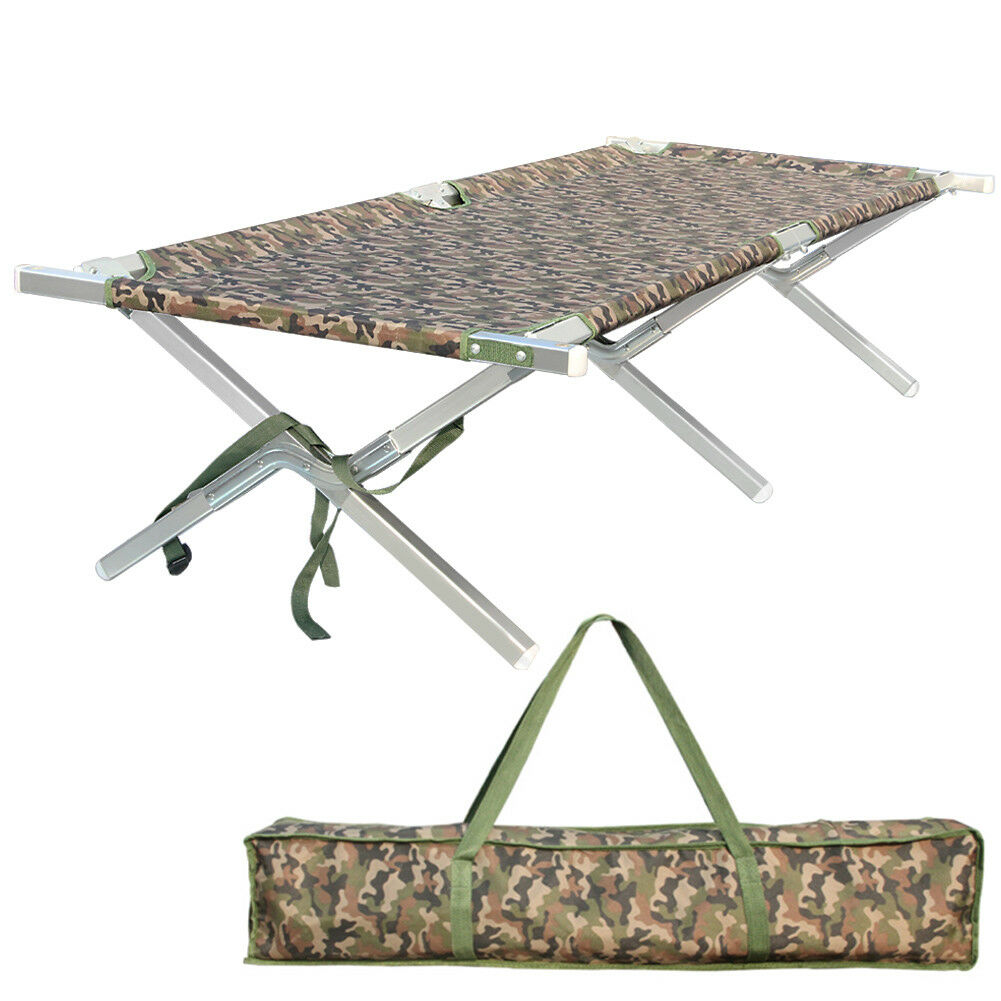 Predable Folding Camping Cot  Military Army Camouflage Aluminum Foldable Bed  happy shopping