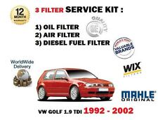FOR VW GOLF 1.9TDi 02/1992-06/2002 OIL AIR FUEL FILTER SERVICE KIT *OE QUALITY*