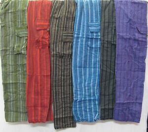 Mens-Pants-Stripped-patch-cotton-hippy-yoga-Comfy-Unisex-Summer-hippie-cargo-new