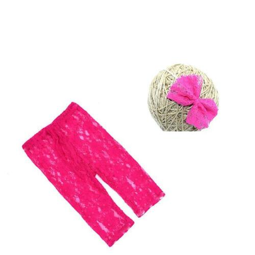 Headband Photo Prop Clothes Outfit MP Newborn Baby Girl Lace Floral Pants
