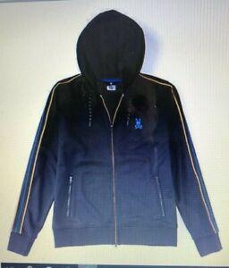 Men-039-s-SZ-M-5-Psycho-Bunny-Baker-Full-Zip-Hoodie-Hooded-Sweatshirt-navy-blue