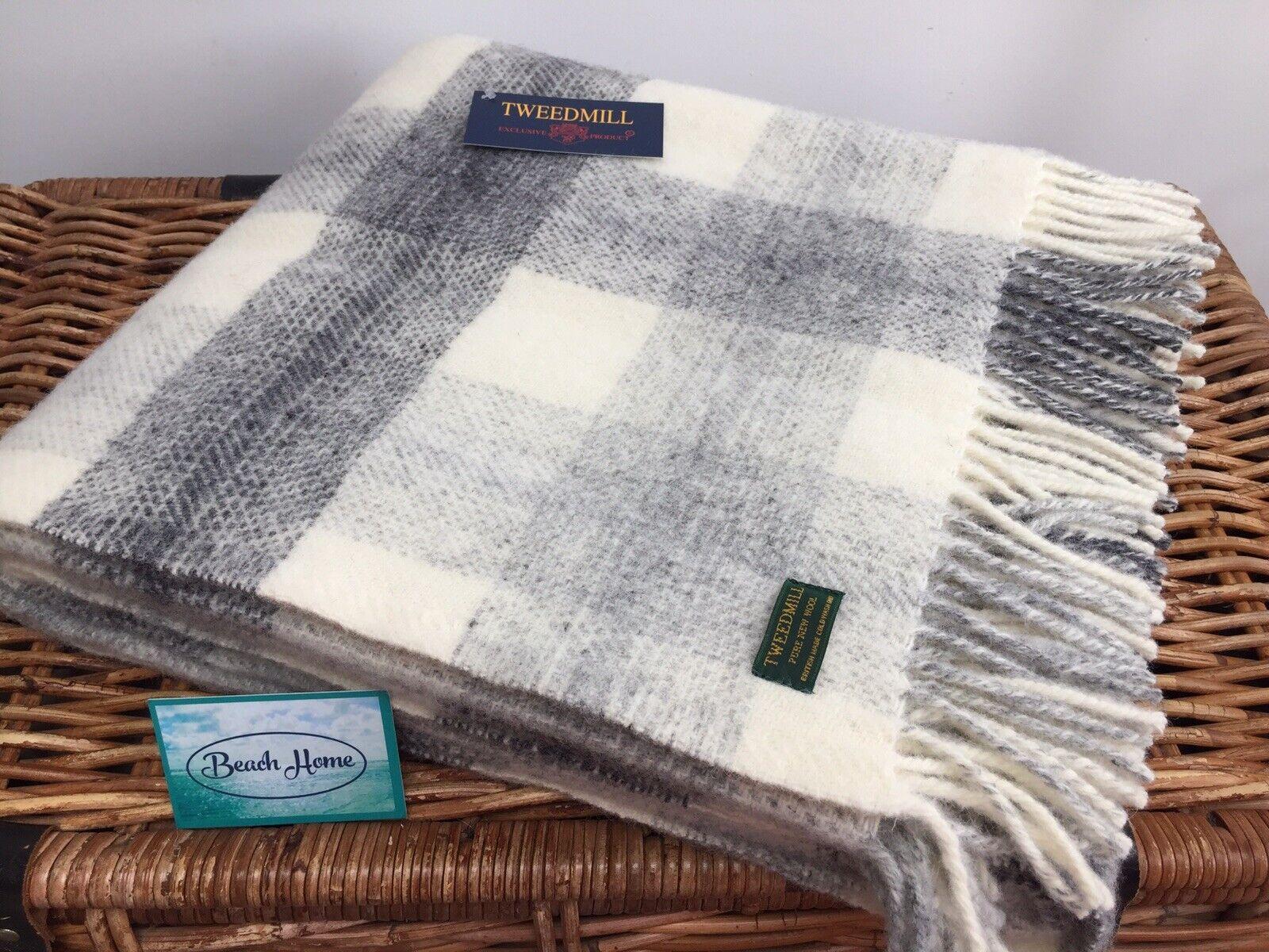 Tweedmill Textiles Prado comprobar gris Crema 100% Puro Nuevo Lana Manta Cobertor De Alfombra