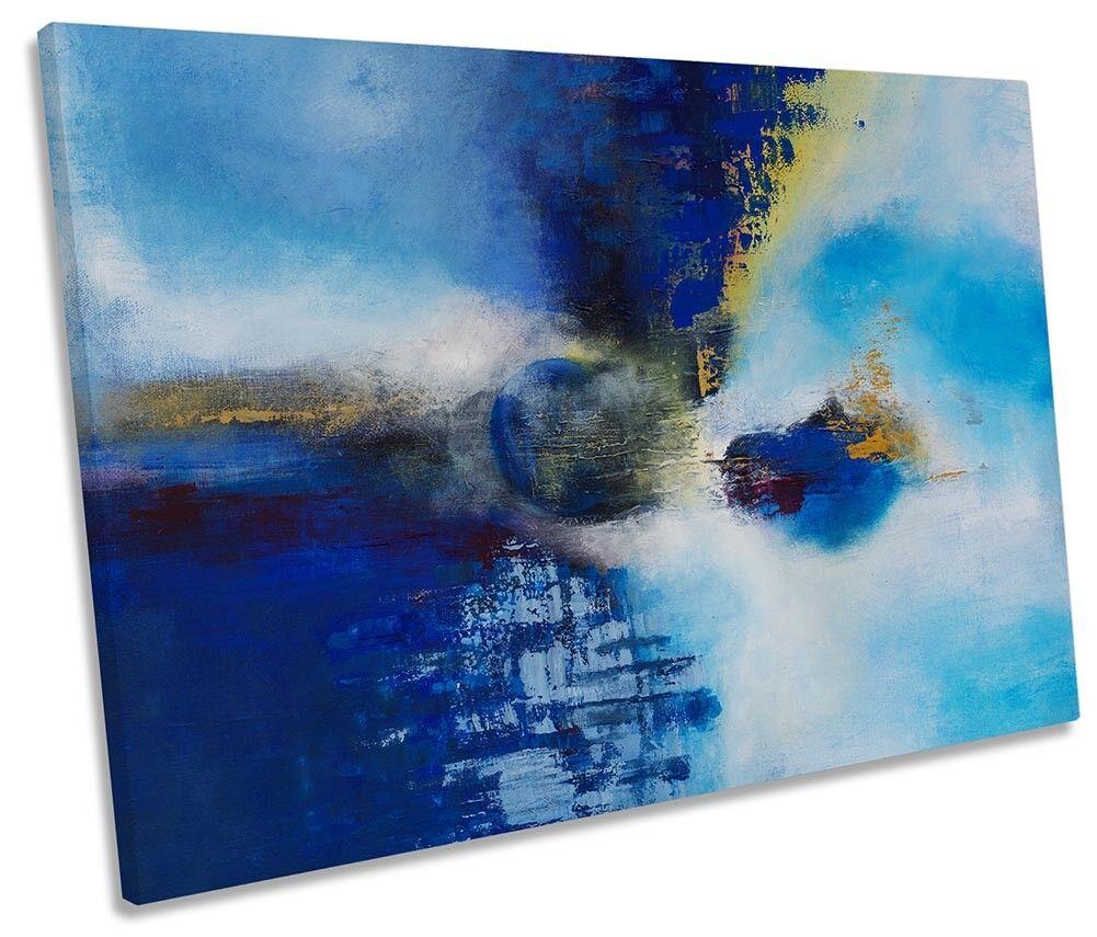 Abstract Blau Minimalistic SINGLE CANVAS WALL ARTWORK Print Art