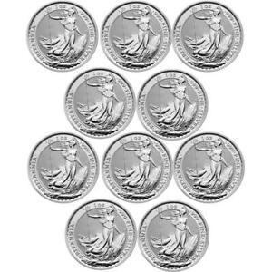 Random British Royal Mint Silver Britannia 1 oz Coin | Lot of 10