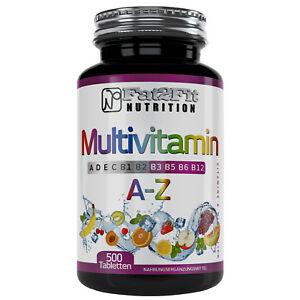 Multivitamin-A-Z-500-Tabletten-Vitamine-Mineralien-Spurenelemente-A-bis-Zink