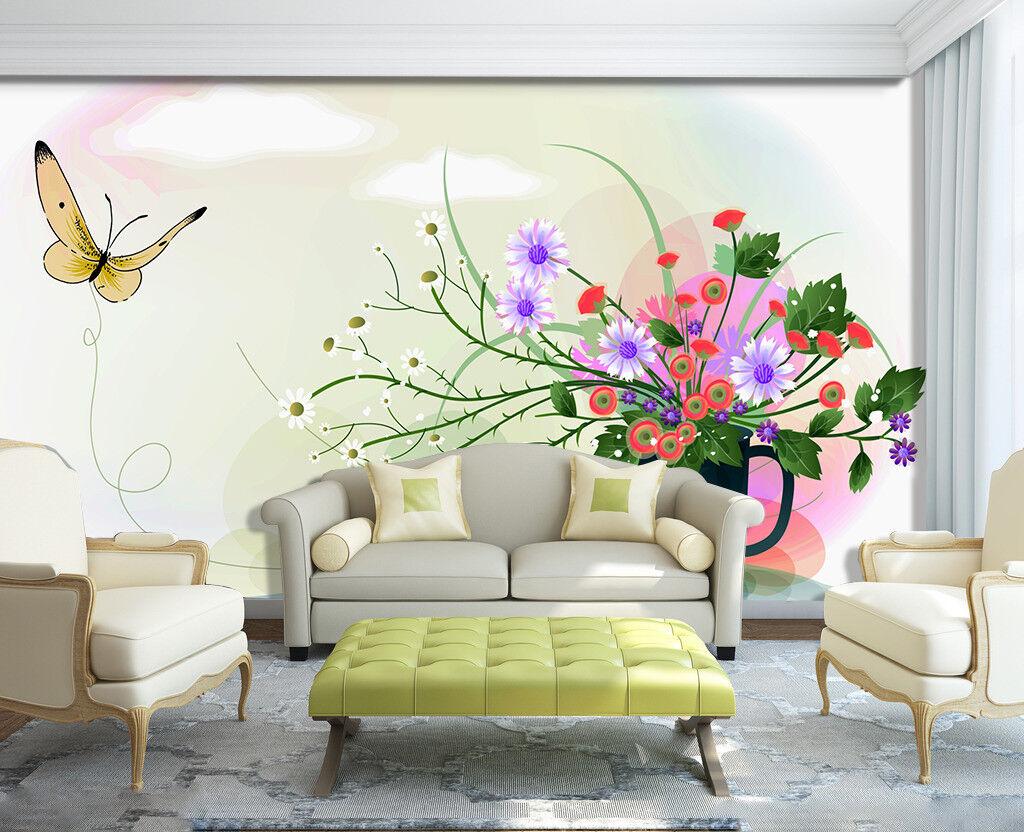 3D Butterfly Flowers 75 Wall Paper Murals Wall Print Wall Wallpaper Mural AU Kya