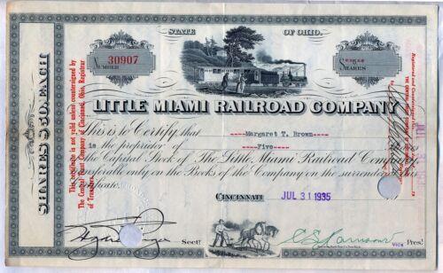 Wholesale Lot of 10 Little Miami Railroad Company Stock Certificates