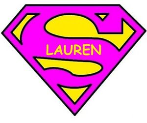 Details about *****SUPERGIRL SUPERMAN LOGO***  PERSONALIZED****FABRIC/T-SHIRT IRON ON TRANSFER