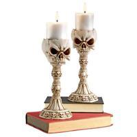 Set Of 2: Macabre Gothic Skull & Bones Les Catacombes Altar Candlestick