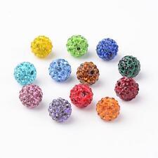 100 Stück Strassperlen Mix Beads Perlen Shamballa gemischt 10 mm (1569)