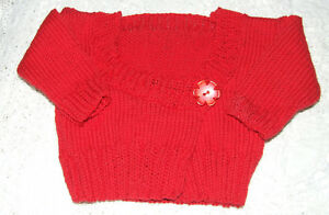 4f61d33e0 Hand Knitted Baby Cardigan Red Cotton Size-3-6 months