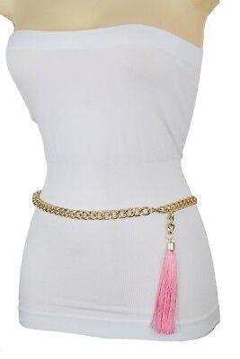 Women Hip Waist Belt Gold Metal Chain Link Tassel Fringes Buckle Plus Size L XL