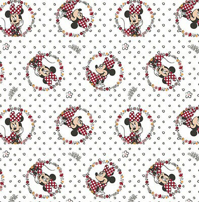 Minnie Mouse Fabric Fabric by The Yard White TheFabricEdge Floral Circles