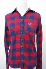 Hollister red blue plaid flannel button down shirt top blouse- S womens L/S#3629