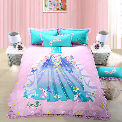 Fairy Princess Blue Twin Queen King Bed Size Quilt Duvet Cover Bedding Set Sheet