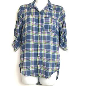 Hollister-Sheer-Pink-Blue-Plaid-Button-Front-Blouse-Size-Small-S-3-4-Sleeve