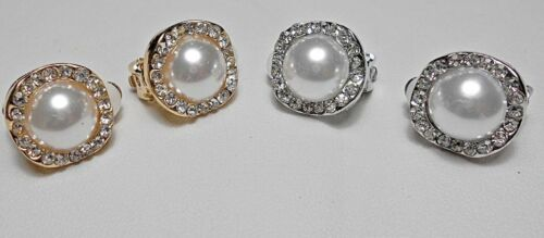 silver or gold pearl crystals 14mm wide Clip-on earrings