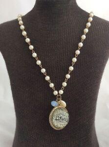 Imitation-Pearl-amp-Gold-Tone-Beaded-Necklace-With-Faith-Pendant