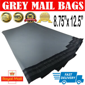 100-BAGS-8-75-034-x-12-5-034-STRONG-POLY-MAILING-POSTAGE-POSTAL-SELF-SEAL-GREY-A4