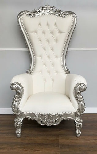 Throne Chair In Silver Frame with White Faux Leather - Lazarus