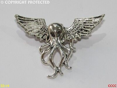 steampunk badge brooch pin wings gold octopus kraken squid pirate Black sails