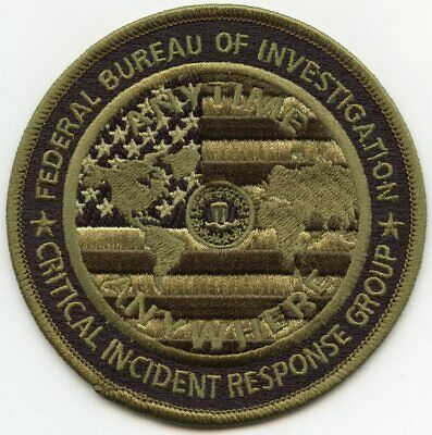FBI CRITICAL INCIDENT RESPONSE GROUP subdued green POLICE PATCH