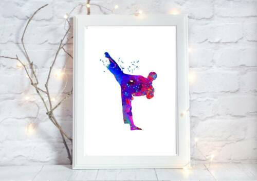 karate martial print arts kickboxing Watercolor a4 wall picture gift unframed
