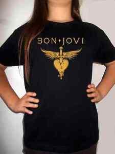 bon jovi logo model:7 BLACK t-shirt MUSIC BAND kids clothing boy girl children