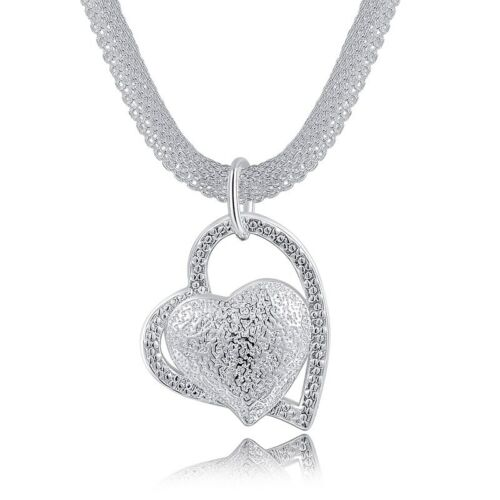 2019 Hot Silver Plated Mesh Chain Hang Crooked Heart Pendant Necklace for Girls