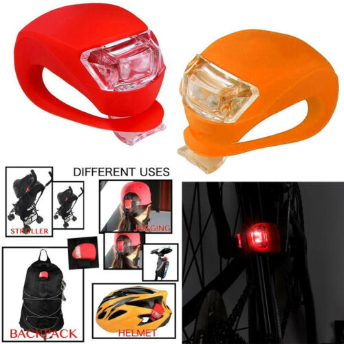 2PCS Bike Bicycle Cycling Silicone Safety Warning 2 LED Rear Tail Lights Lamps