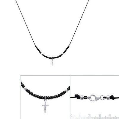 Collier Chapelet CROIX Chrétienne Perles et Zirconium en argent NEUF